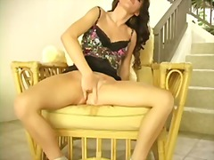 pussy, dildo, babe, squirting, brunette, shaved, masturbation, squirt