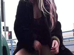 Thumb: Public toying and dild...