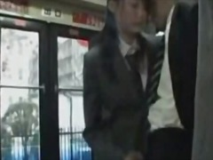 Jap schoolgirl gives handjob on bus