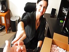 Milf handjob at the office