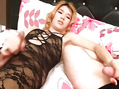 shemale, asian, tranny, lingerie, handjob