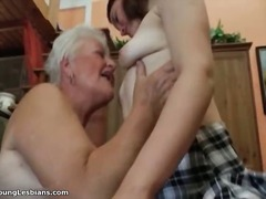 Horny grandma having h...