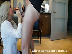 Doctor wifey blows cock to check semen