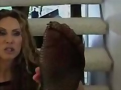 Foot job from catsuit ... video