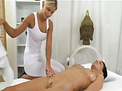 massage, big, brunette, tits, blonde