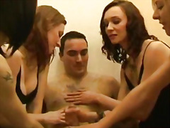 Hot femdoms tugging th...