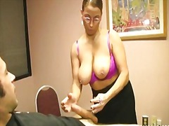 See: A busty milf strokes a...