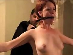 Sun Porno Movie:Girl on chains clips on her pu...