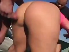 foursome, tits, facial, orgy, fishnet