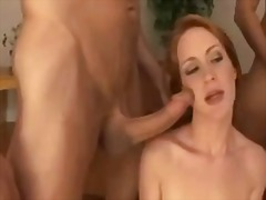 German redhead babe amber swift group...