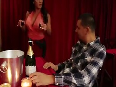 Busty latina cougar waitress seduces ...