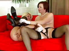 Glam lesbo milfs using...