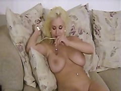 shaved, blonde, vibrator, solo, toys,
