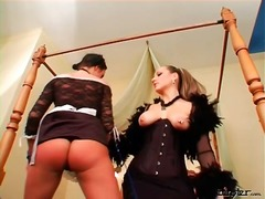 Mistress spanks sexy ass of french maid
