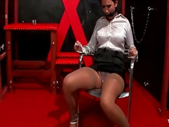 Alpha Porno Movie:Bound babe in blouse and stock...