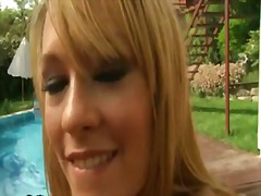 Blonde blue angel touches her twat and jugs in a playful manner
