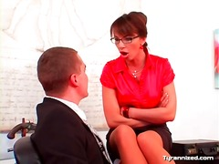 Alpha Porno - Office girl in satin enjoys dominating coworker