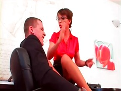 Office girl in satin e... - Alpha Porno