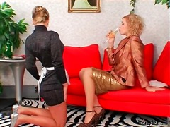 Mistress inspects the tight ass of her french maid