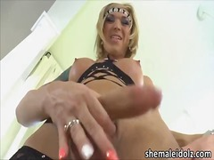 shemale, cumshot, tattoo, solo,