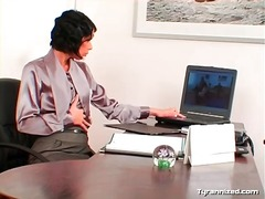 Office babe licks up and down the legs of ...