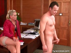 Naked guy jerks off for clothed mistress