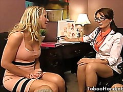 Vporn - Taboo handjobs, done by two sexy milf looking like teachers.