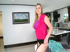 Abbey brooks with big knockers and trimmed bush gets her nice face jizzed on