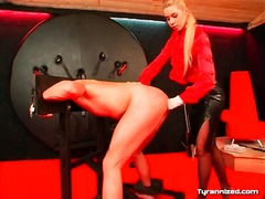 Alpha Porno Movie:Blonde in leather skirt fists ...