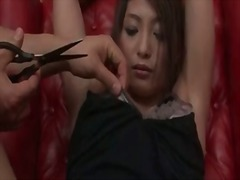 Taped in bondage and fingered in the cunt