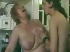 Hairy granny satisfies young boy in t...