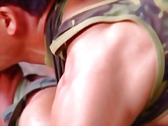 Beefy military men suc... video