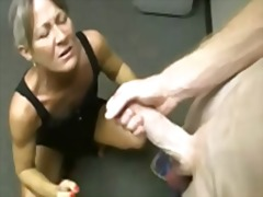 Matures jerking young cocks! cum lovi...