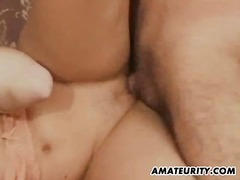 Busty amateur girlfriend gets double teamed with facial