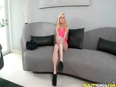 Alpha Porno Movie:Skinny blonde stripping and te...