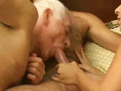 oral, mature, threesome, cumshot