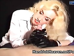 Giving a handjob in heavy long gloves