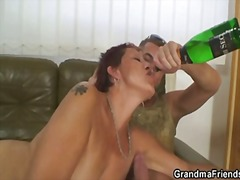 Lonely granny gets pounded by two dudes