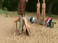 Thumb: 3 girls trained naked ...