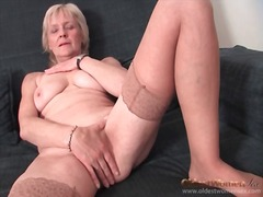 Granny strips to stockings and finger...