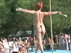 public, ginger, mom, stilettos, uniform, tease, stripper, cougar