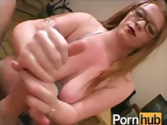cumshot, oil, pov, tits, glasses, pornstar, babe, orgasm, big boobs, tattoo, handjob, redhead