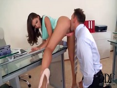 Secretary tease in short skirt wants her pussy licked