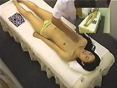 Leggy skinny Japanese enjoys a hot erotic massage on spy cam