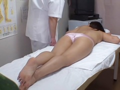 Creampie for hot Japanese in kinky voyeur massage video