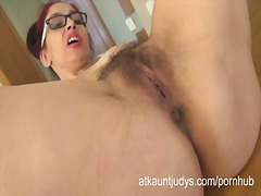 hairy, mom, strip, glasses, orgasm,