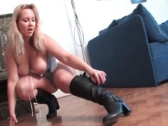 Leather boots and lingerie on curvy blonde