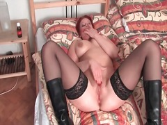 stockings, boots, masturbation