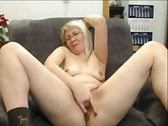 blonde, mature, masturbation