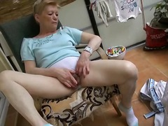 Alpha Porno Movie:Granny masturbates on deck in ...